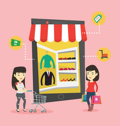 two women doing shopping online vector image
