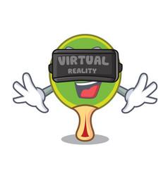 Virtual reality ping pong racket mascot cartoon vector