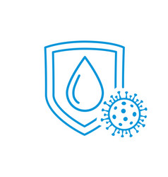Virus protection drop on shield icon vector