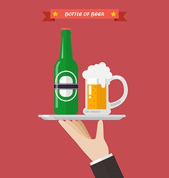 Waiter serving a bottle and glass beer vector