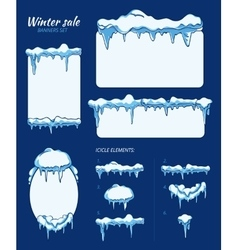 Winter sale stickers tags and banners with vector