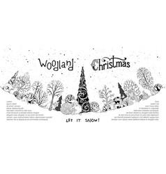 Woodland christmas background vector