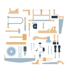 woodwork tool kit set hand carpentry equipment vector image