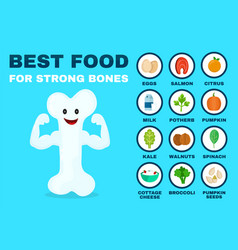 best food for strong bones strong healthy vector image vector image