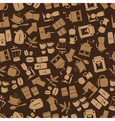 coffee icons brown seamless pattern eps10 vector image