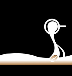 spilling the coffee silhouette black background vector image