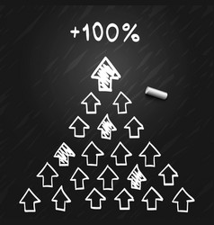 the leader of the pyramid of the arrows sketch vector image vector image