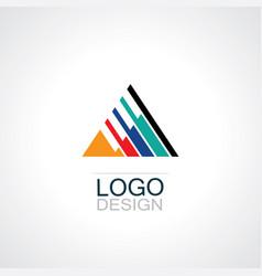 triangle stripe logo vector image vector image