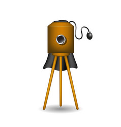 vintage camera in wooden design with shadow vector image