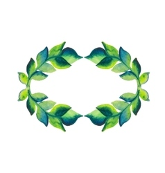 Watercolor wreath of branch with green leaves vector image vector image