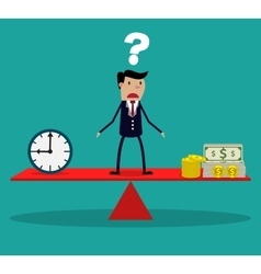 businessman making decision between time or money vector image