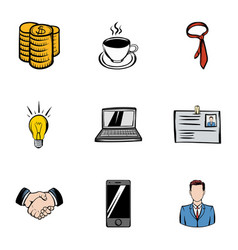 firm icons set cartoon style vector image vector image