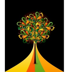 Painting abstract tree on black card vector image vector image