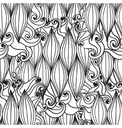 Seamless wave hand drawn pattern waves background vector image