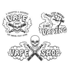 Set of vape e-cigarette emblems vector image