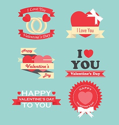 Valentine day labels icons elements and badges vector image