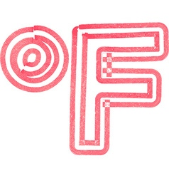 Abstract fahrenheit symbol made with red marker vector