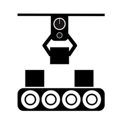automated production line icon on white vector image