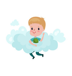 cute little boy playing on a cloud kid fantasizes vector image