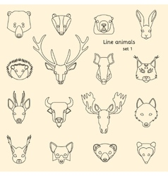 Forest animals line icons vector image vector image