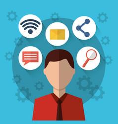man internet social media communication icons vector image