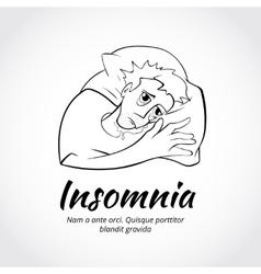 Outline sleepless man character vector image