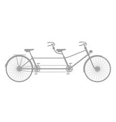 retro tandem bicycle in grey design vector image