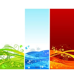 Three vertical floral banners vector image