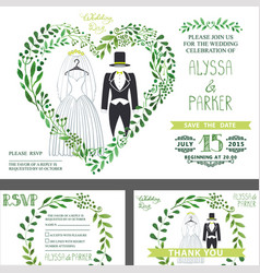 wedding invitationgreen branches heart wedding vector image vector image