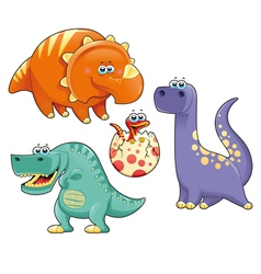 Group of funny dinosaurs vector image