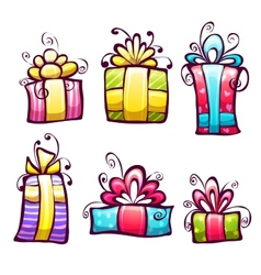set of brightly gift cartoon box vector image vector image