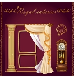 Set of columns curtains and old grandfather clock vector image