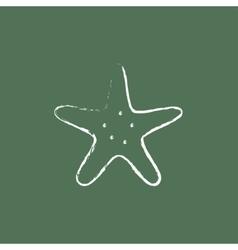 Starfish icon drawn in chalk vector image