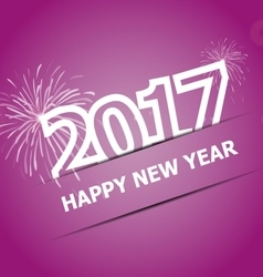 2017 happy new year on pink background vector