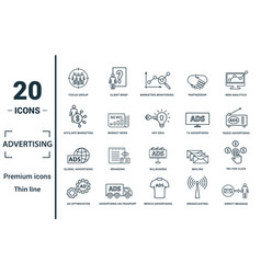 Advertising icon set include creative elements vector