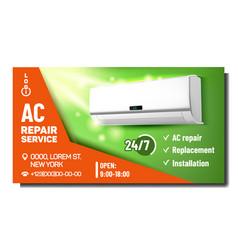 Air conditioner repair service promo poster vector