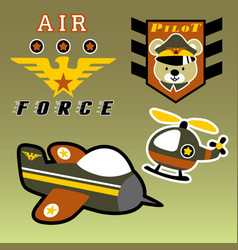 Airforce squadron with funny soldier kids t shirt vector