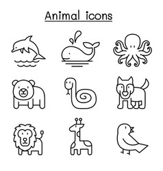 animal icon set in thin line style vector image