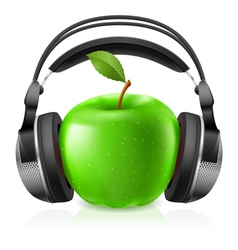 Apple with headphones vector