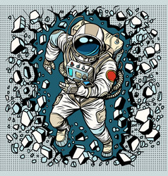 astronaut breaks the wall leadership and vector image
