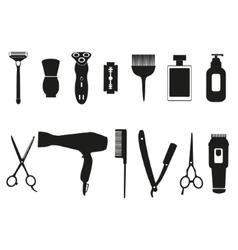 Barber tools and haircut icons set vector image