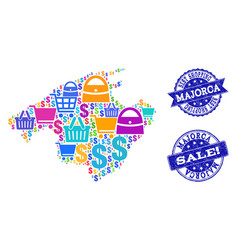 Best shopping composition of mosaic map of majorca vector