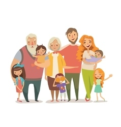 Big family portrait Mother father daughter son vector image