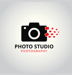 Black and red icon for photographer camera icons vector
