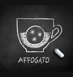 Black and white sketch of affogato coffee vector