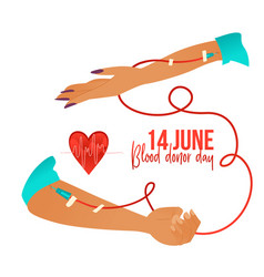blood donor day banner with hands during blood vector image