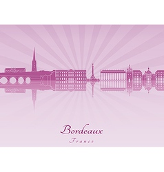 Bordeaux skyline in purple radiant orchid vector image