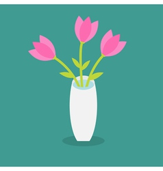 Bouquet of pink tulip flowers in a vase flat desig vector