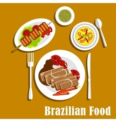 Brazilian cuisine dinner dishes and snacks vector image