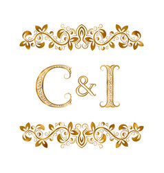 C and i vintage initials logo symbol letters c vector